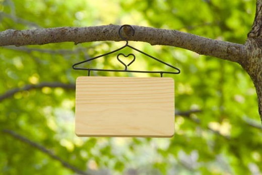 Blank sign hanging from a tree : Stock Photo