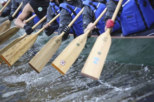 Team dragon boat racing. A method of team building used by many corporations to build team spirit and increase the effectivesness of working together in any environment. Races are held all over in thi : Stock Photo