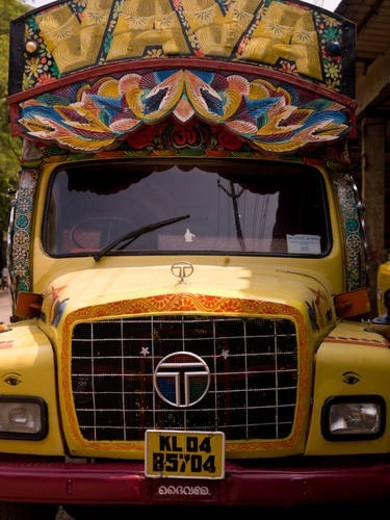 Decorated trucks in Alleppey, Kerala, India : Stock Photo