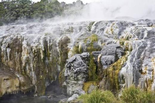 Geomorphic hot pools in Rotorua, New Zealand : Stock Photo