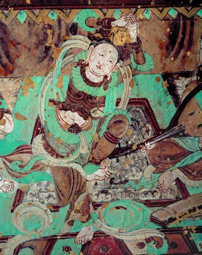 Stock Photo: 4029R-319062 Painting of Bao En Illustrations in Cave No.112 of Mo Gao Grottoes, Dunhuang, Gansu