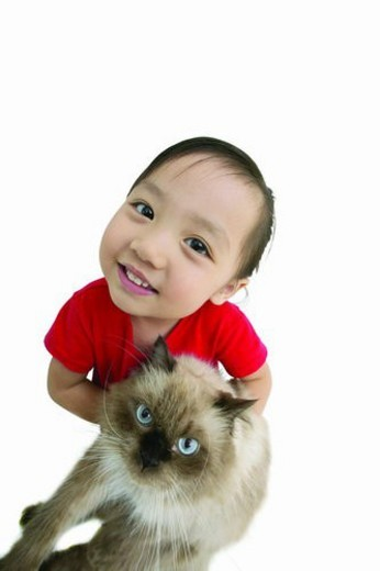 Stock Photo: 4029R-319385 Cat, Child, Casual Clothing, Toothy Smile, One Girl Only, Standing, 2-3 Years