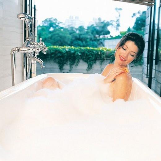 Square, Faucet, Bubble, Lady : Stock Photo