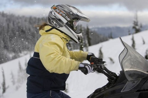 Stock Photo: 4029R-320348 snowmobile adventure tour in Whistler British Columbia
