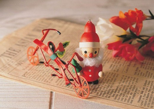 , decoration, holiday, Christmas, bicycle, doll : Stock Photo
