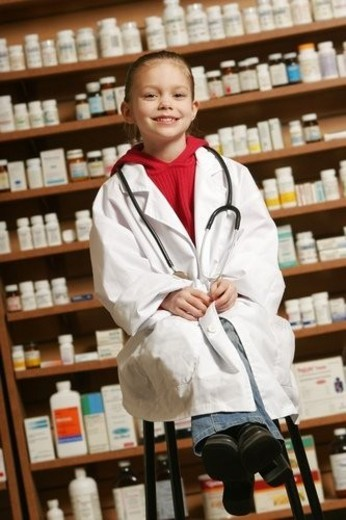A child pharmacist : Stock Photo