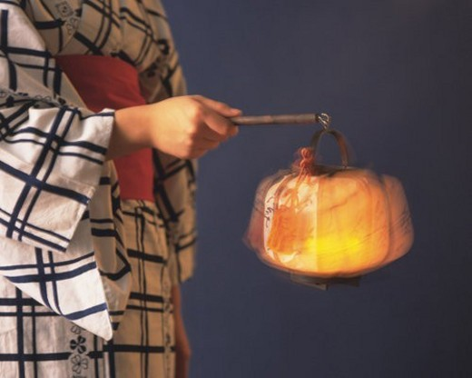 Stock Photo: 4029R-322474 Woman in yukata holding a paper lantern, side view, gray background, blurred motion