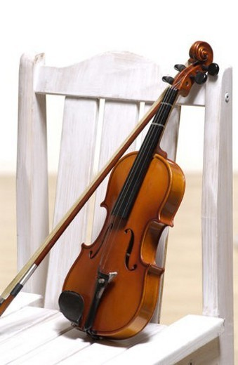chair, string instrument, musical instrument, music, violin : Stock Photo