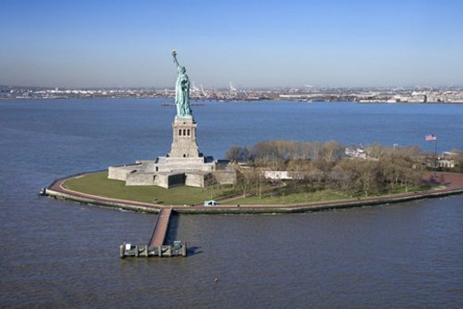 Stock Photo: 4029R-322953 Aerial view of Liberty Island and Statue of Liberty.