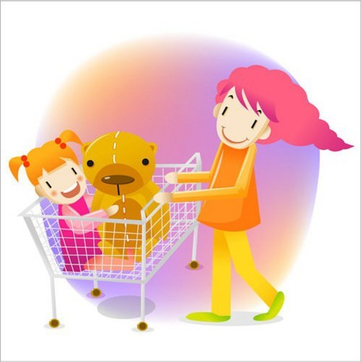hugging, daughter, sitting, shopping cart, carrying, mother : Stock Photo