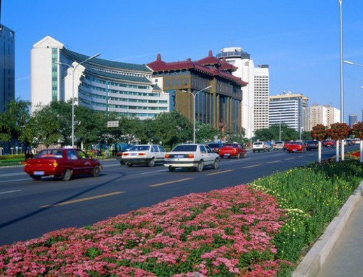 Scene of architectures in Chang?an Avenue,Beijing : Stock Photo