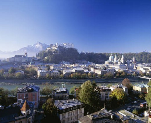 Hohensalzburg Castle and the town of Salzburg, Austria : Stock Photo
