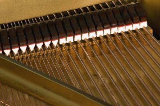 Stock Photo: 4029R-326003 Close up of piano strings