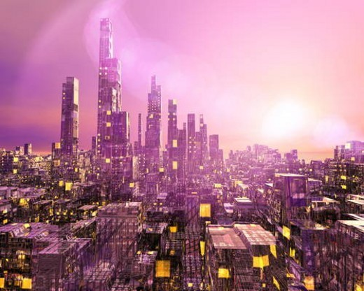 Stock Photo: 4029R-326289 Futuristic city