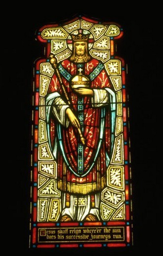 Stock Photo: 4029R-32696 Stained glass window of Jesus in regal dress wearing a royal crown