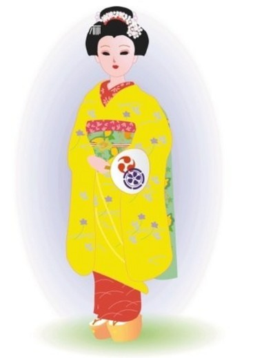 Woman standing and holding paper fan in Japanese style clothing, front view, Japan : Stock Photo