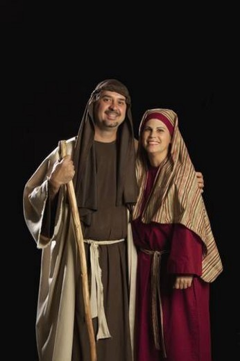 people dressed as mary and joseph : Stock Photo
