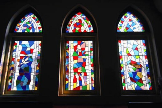Stock Photo: 4029R-329389 Stained glass window in a church