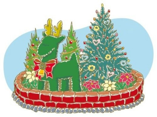 Stock Photo: 4029R-330014 Painting of flowerbed with Christmas tree and ornament, Illustration