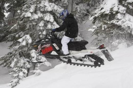 Stock Photo: 4029R-330112 snowmobile adventure tour in Whistler British Columbia