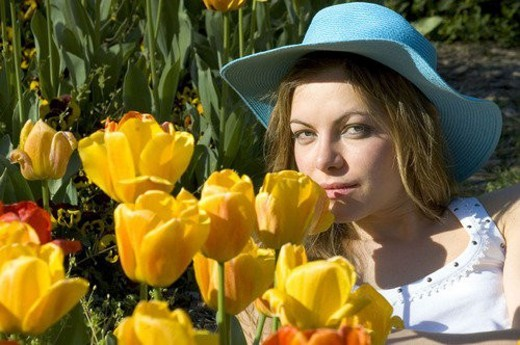 Woman, Young, Nature, Country, Flowers, Beauty, Blond : Stock Photo