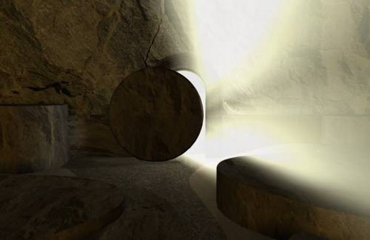 The stone rolling away from the tomb : Stock Photo