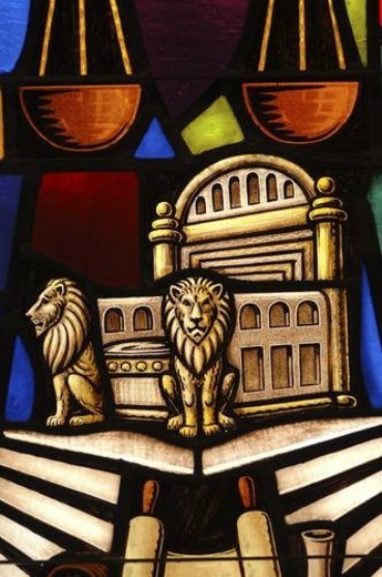 Stained glass window in synagogue : Stock Photo
