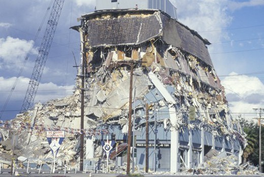 A demolished building at Olympic Blvd after an earthquake : Stock Photo