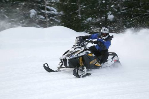 Stock Photo: 4029R-336305 snowmobile adventure tour in Whistler British Columbia