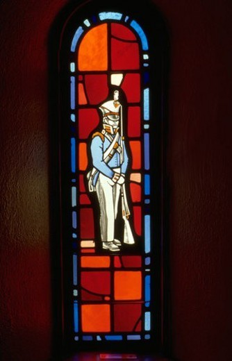 Soldier from revolutionary war on stained glass window. Ft Snelling State Park Minnesota USA : Stock Photo