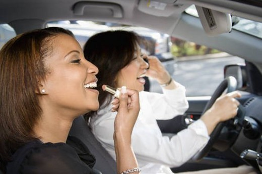 Women friends in car. : Stock Photo