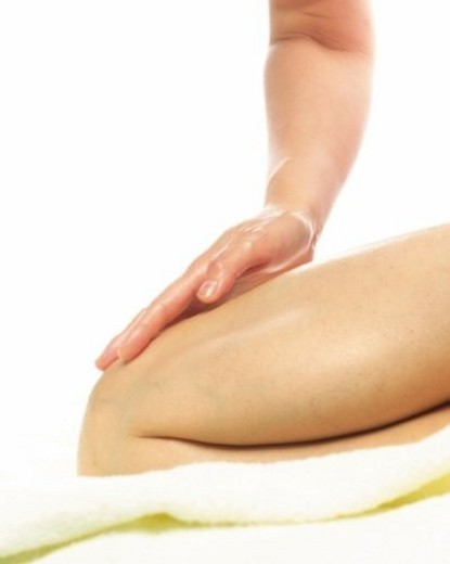 Aesthetician Who Massages Woman s Foot, Close Up : Stock Photo