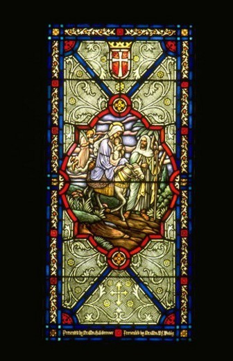 Stock Photo: 4029R-342129 Mary Jesus and Joseph traveling with donkey on stain glass