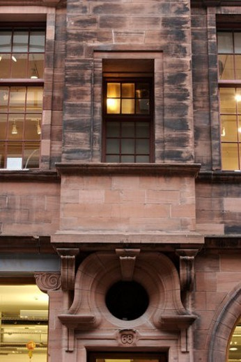 Detail of building by Charles Rennie Mackintosh, Glasgow School of Design, with typical Art Nouveau ornamentation, that defined his style, Glasgow, Scotland : Stock Photo
