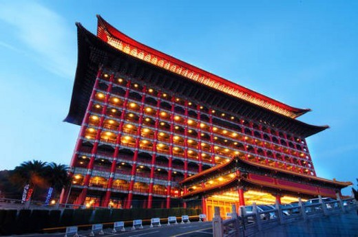 Hotel lit up at dusk, Grand Hotel, Taipei, Taiwan : Stock Photo
