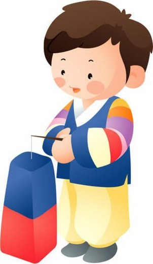 Stock Photo: 4029R-343073 traditional korean dress, child, male, costume, boy, human