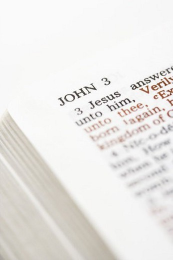 Selective focus of John 3 verses in open Holy Bible. : Stock Photo