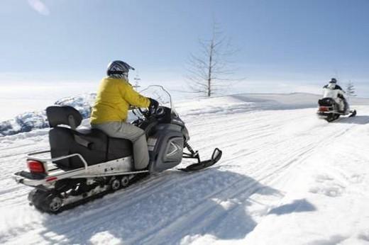 Stock Photo: 4029R-344793 snowmobile adventure tour in Whistler British Columbia