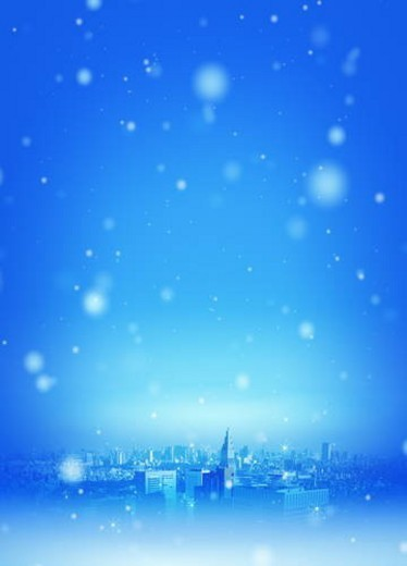 Stock Photo: 4029R-345821 Snow falling in city, CG