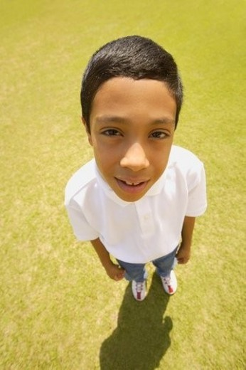 High-angle portrait of a boy : Stock Photo