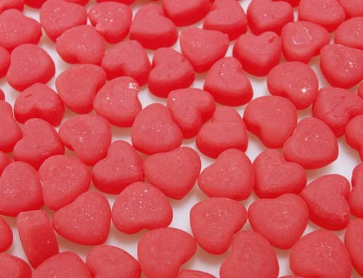 Close-Up of Red Heart Shaped Candies : Stock Photo