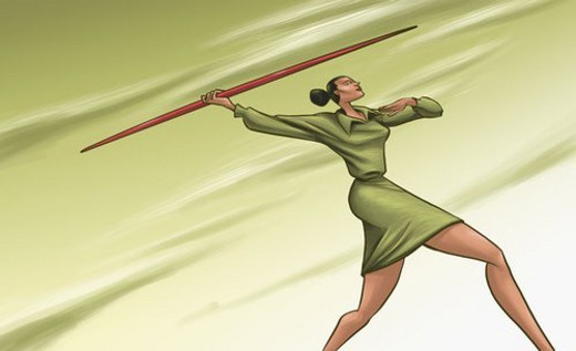 Low angle view of a businesswoman throwing a javelin : Stock Photo