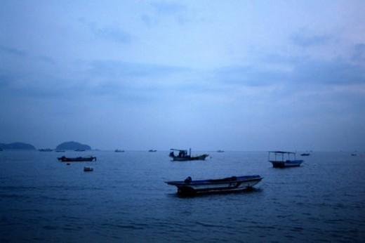 vessel, scenery, fishing boat, ship, island, sky, landscape : Stock Photo