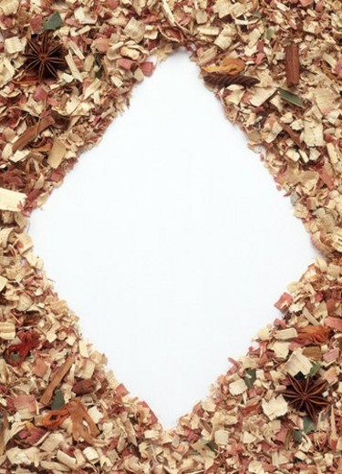 Stock Photo: 4029R-352531 A frame formed by wooden scraps