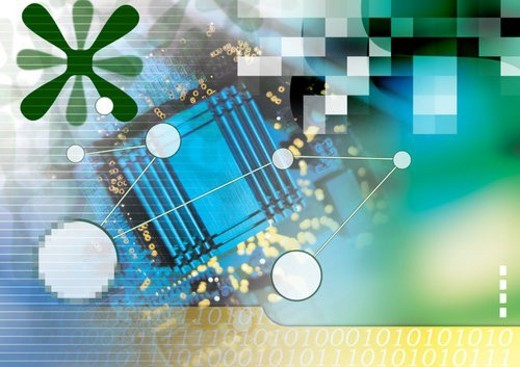 Circuit board superimposed on a multi colored background : Stock Photo