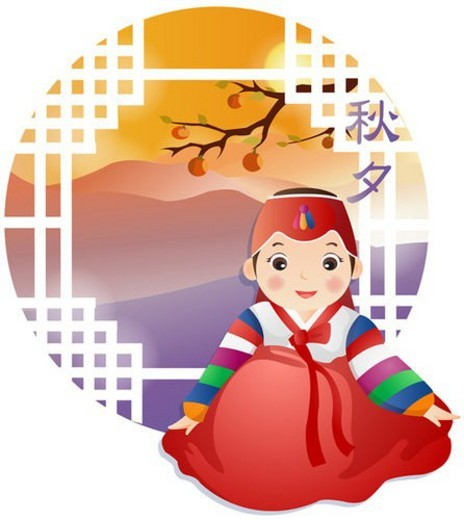 Stock Photo: 4029R-354078 landscape, autumn, persimmon, korean dress, happiness, season
