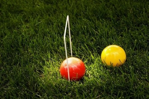A croquet game : Stock Photo