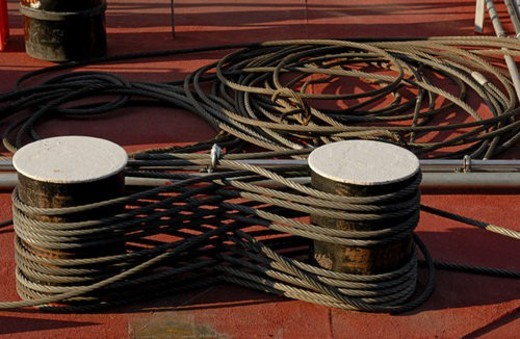 cables, Austria, bollard, boat, austria, abstract : Stock Photo