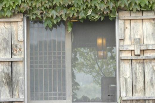 reflection, frame, reflecting, lattice, window, wooden, door : Stock Photo