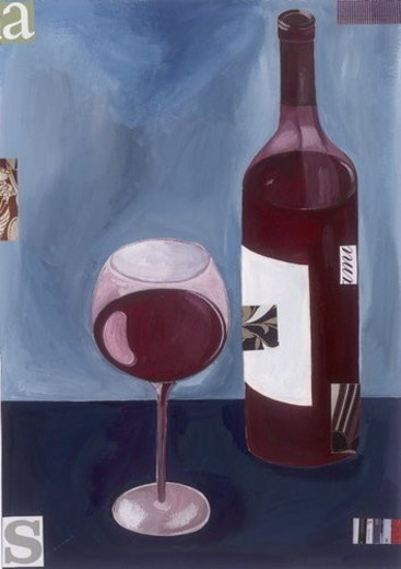 Stock Photo: 4029R-359129 A glass of red wine with a bottle